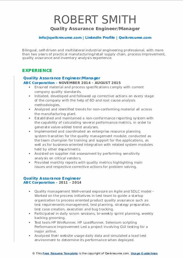 Quality Assurance Engineer/Manager Resume Format