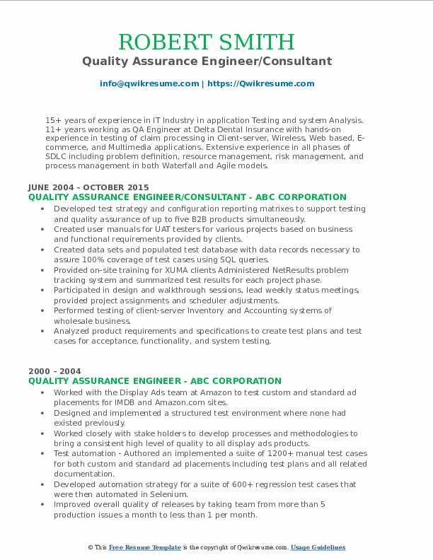Quality Assurance Engineer/Consultant Resume Example