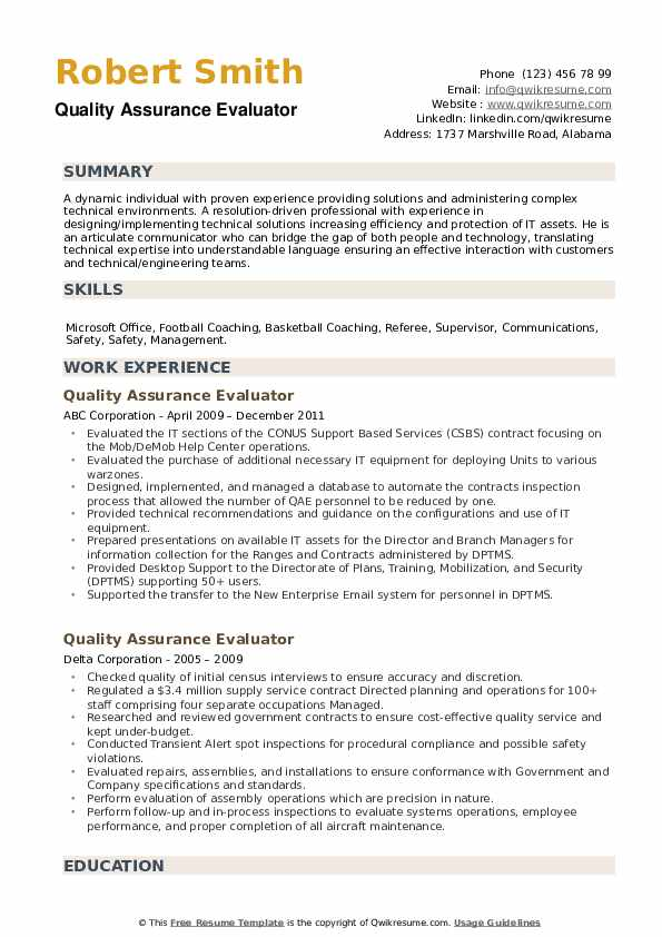 Quality Assurance Evaluator Resume example