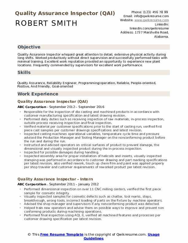 Quality Assurance Inspector (QAI) Resume Template