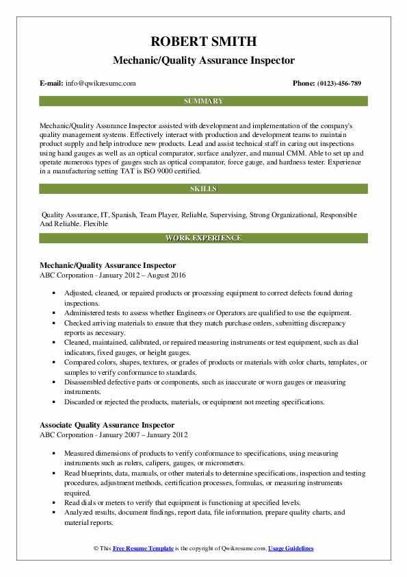 Mechanic/Quality Assurance Inspector Resume Format