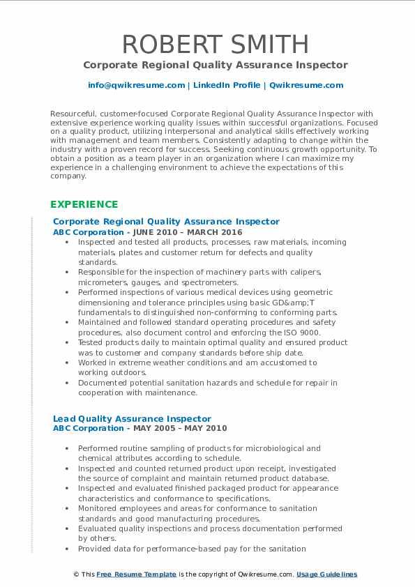 Corporate Regional Quality Assurance Inspector Resume Model