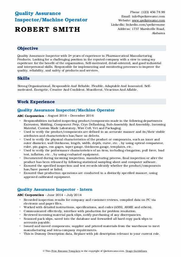 Quality Assurance Inspector/Machine Operator Resume Format
