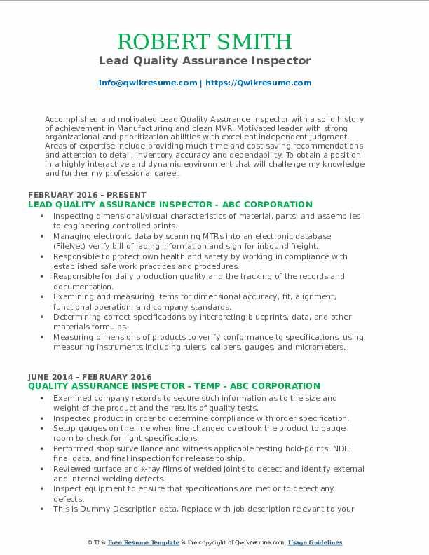 Lead Quality Assurance Inspector Resume Sample