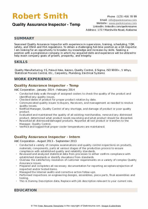 quality assurance inspector resume samples