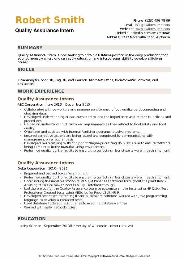 Quality Assurance Intern Resume example
