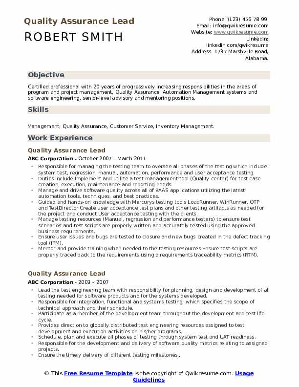 Quality Assurance Lead Resume Template
