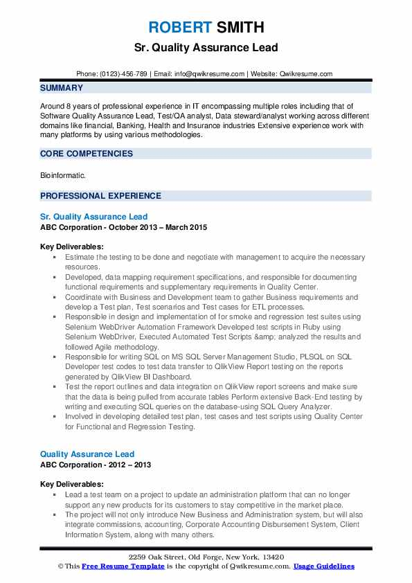 Sr. Quality Assurance Lead Resume Template