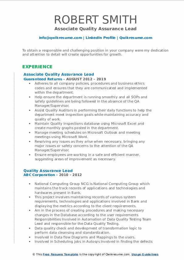Associate Quality Assurance Lead Resume Example