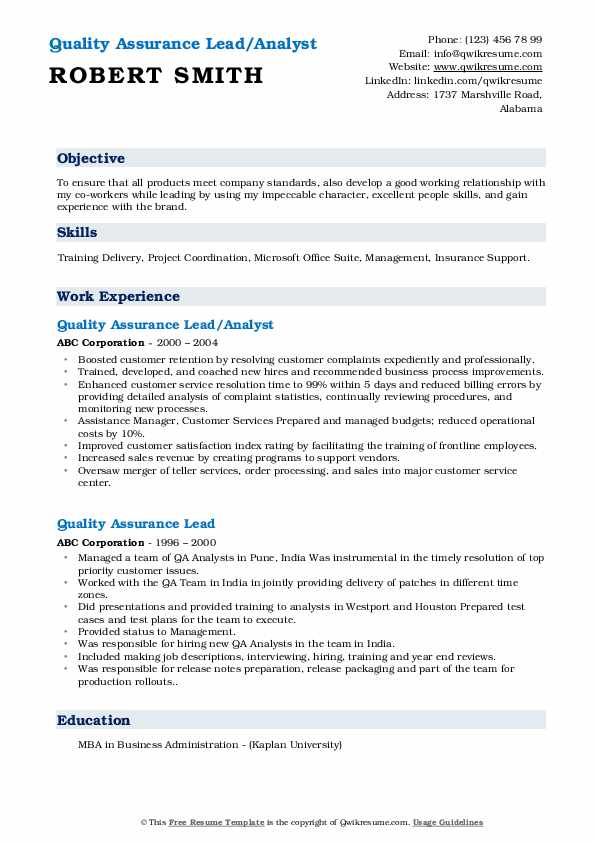 Quality Assurance Lead/Analyst Resume Format