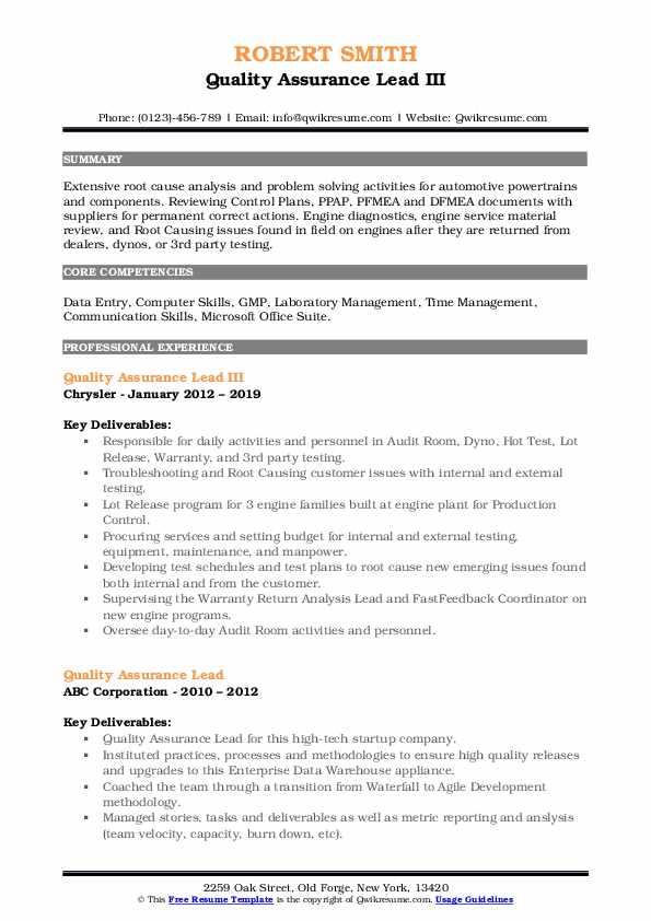 Quality Assurance Lead III Resume Template