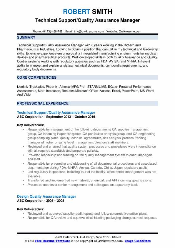Technical Support/Quality Assurance Manager Resume Template