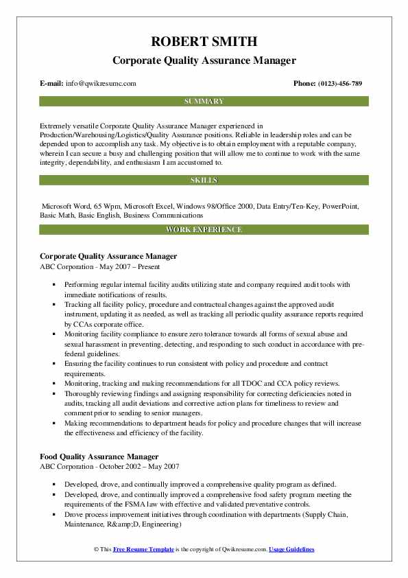 Quality Assurance Manager Resume Samples | QwikResume