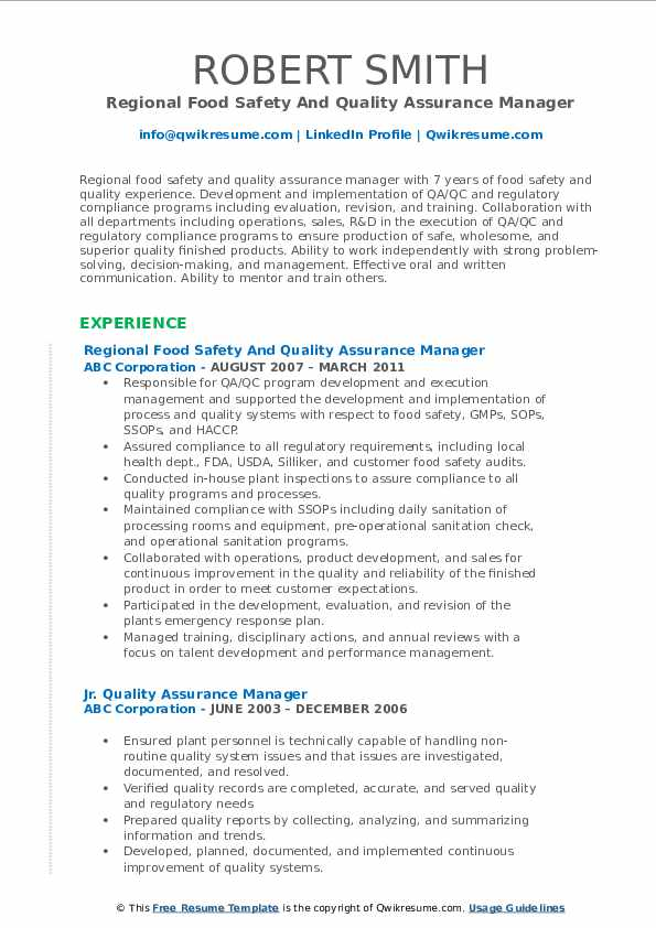 Regional Food Safety And Quality Assurance Manager Resume Template