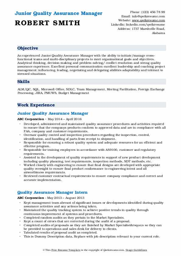Junior Quality Assurance Manager Resume Example