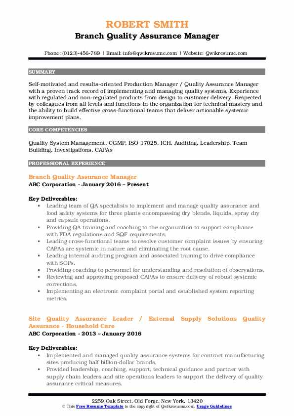 Branch Quality Assurance Manager Resume Example