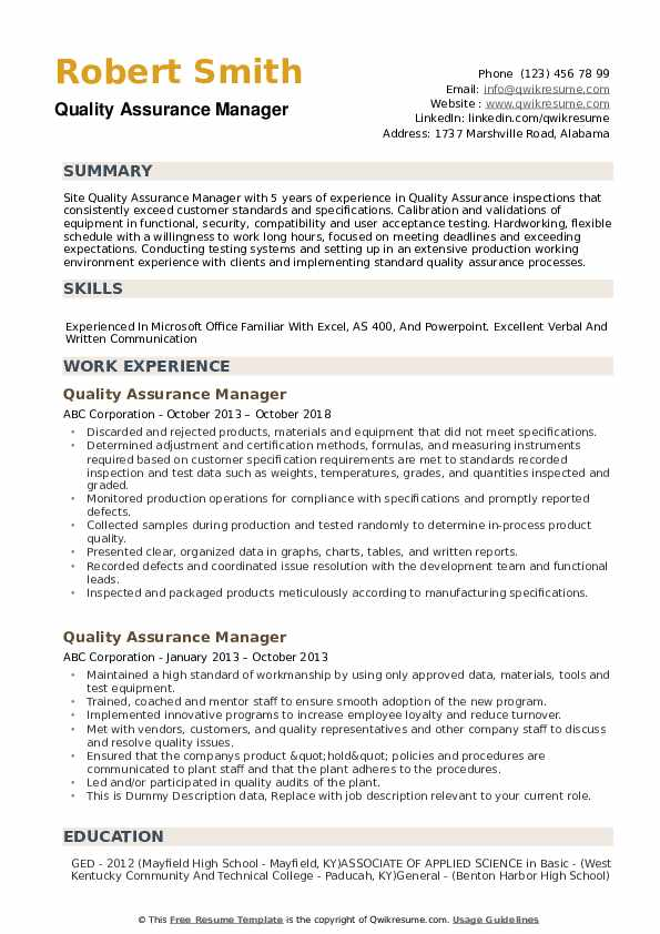 quality assurance manager resume samples
