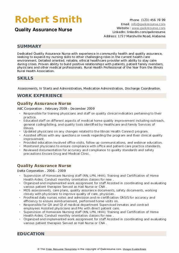 Quality Assurance Nurse Resume example