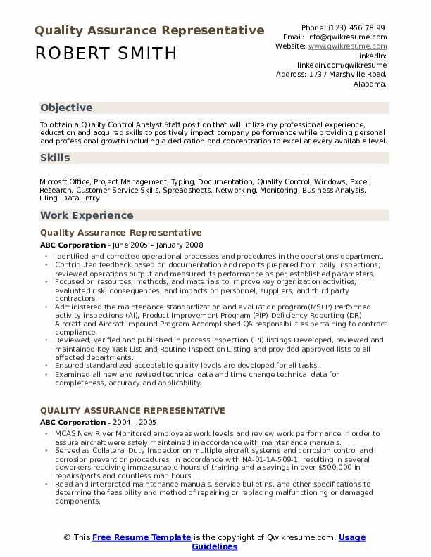 Quality Assurance Representative Resume Format