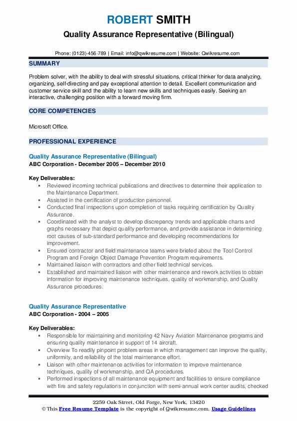 Quality Assurance Representative (Bilingual) Resume Format