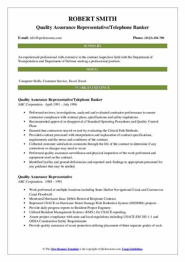 Quality Assurance Representative/Telephone Banker Resume Format