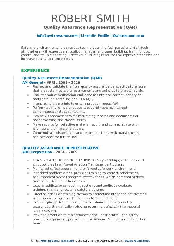 Quality Assurance Representative (QAR) Resume Model