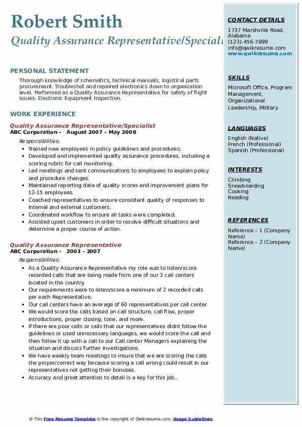 Quality Assurance Representative/Specialist Resume Sample