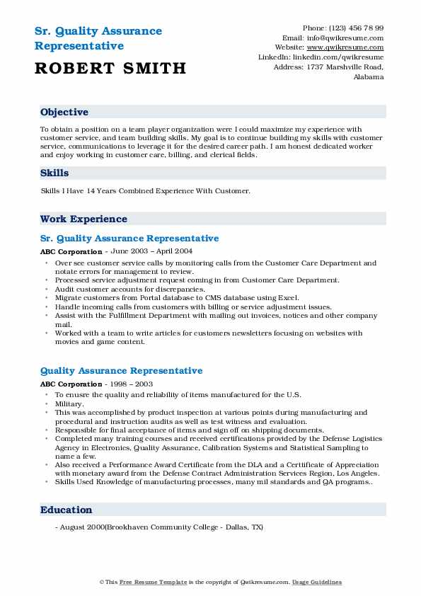 Sr. Quality Assurance Representative Resume Template