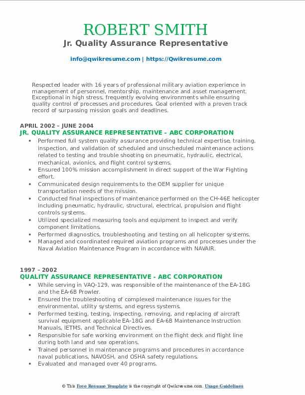 Jr. Quality Assurance Representative Resume Template