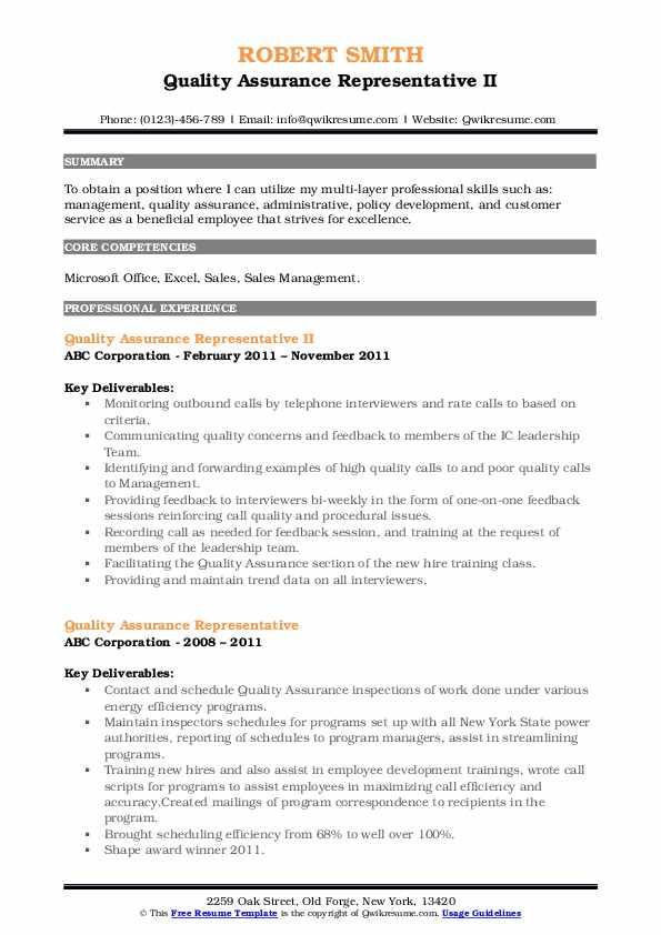 Quality Assurance Representative II Resume Example