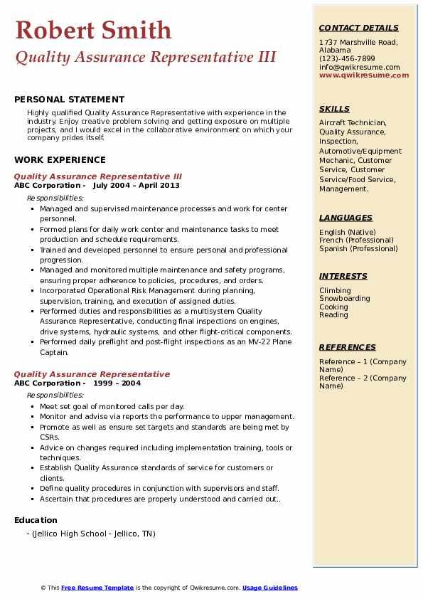Quality Assurance Representative III Resume Example