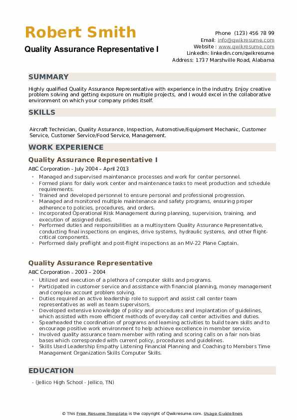 Quality Assurance Representative I Resume Sample