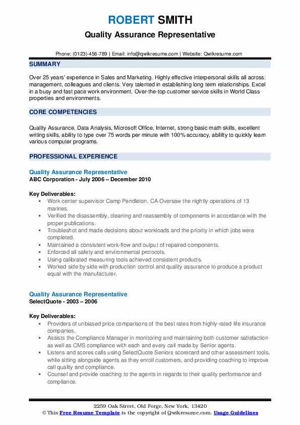 Quality Assurance Representative Resume example