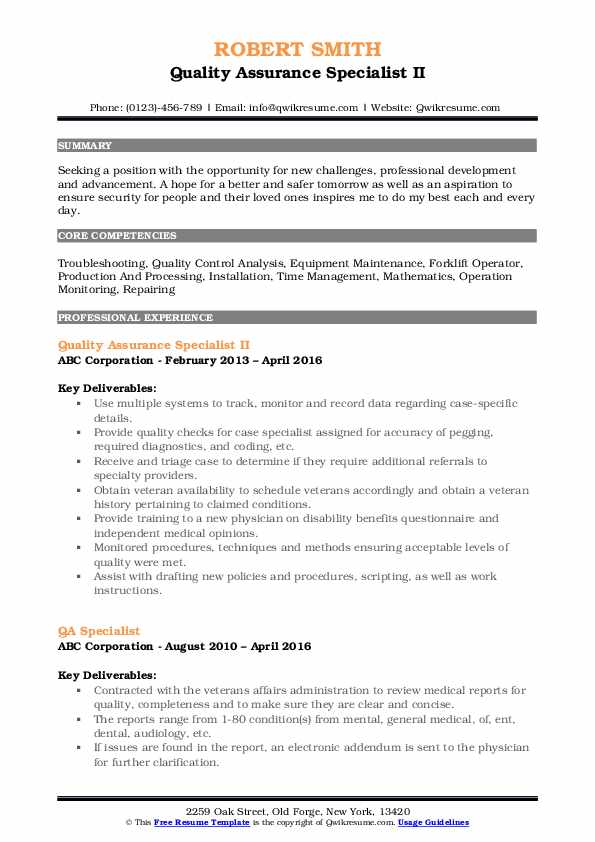 Quality Assurance Specialist II Resume Sample