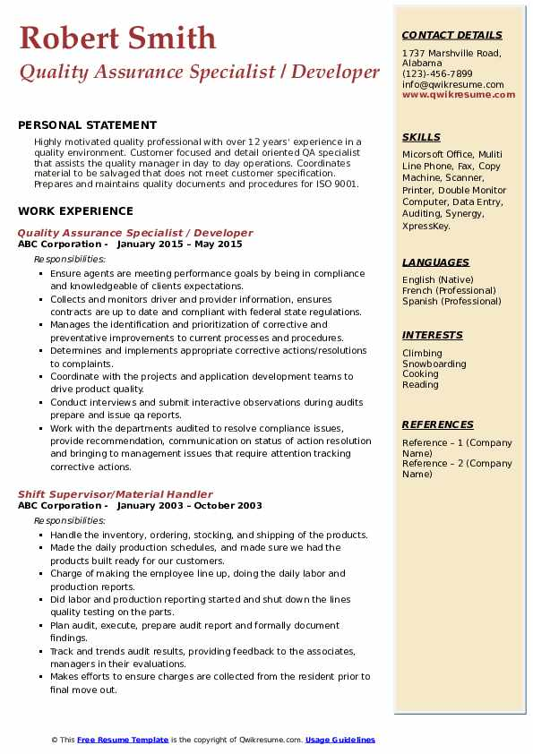 Quality Assurance Specialist / Developer Resume Model