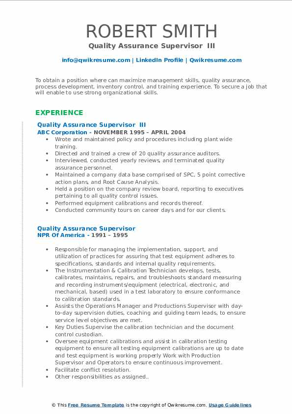 Quality Assurance Supervisor Resume Samples Qwikresume