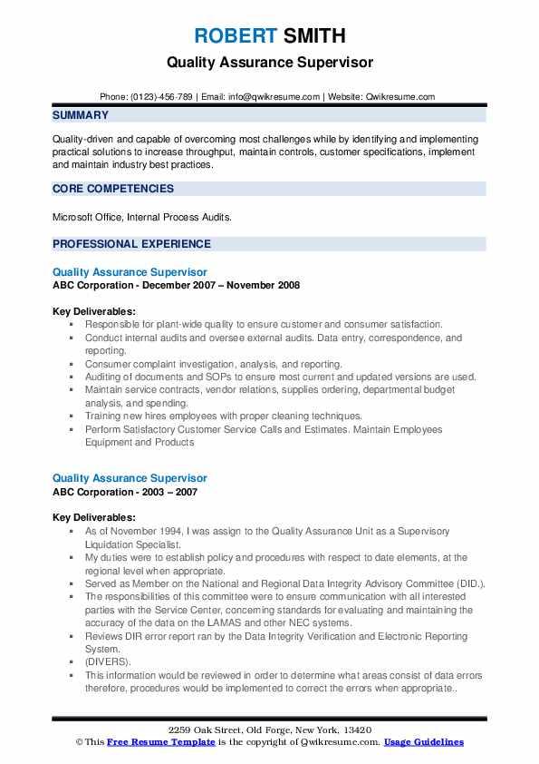 Quality Assurance Supervisor Resume example