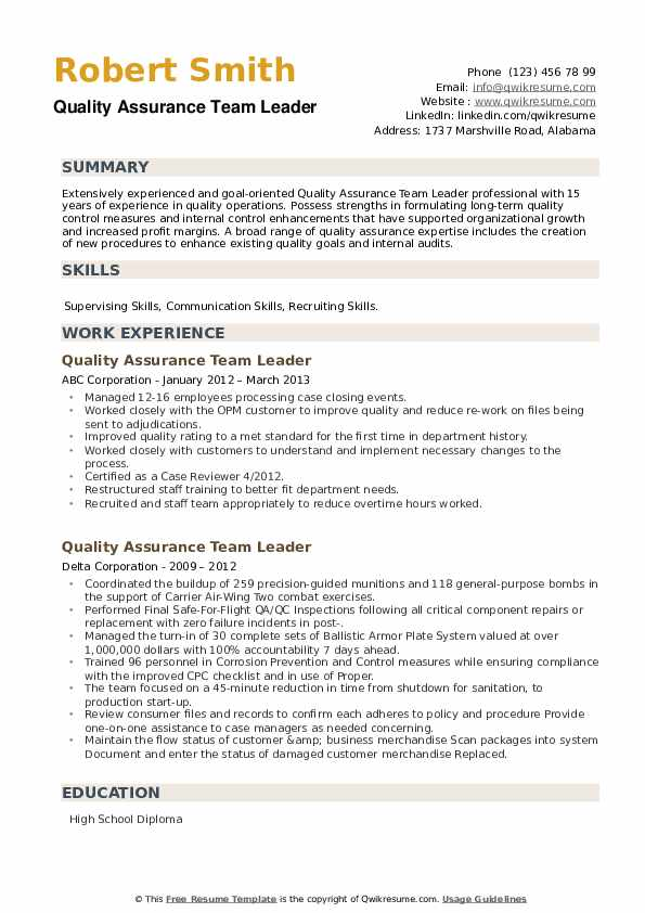 Quality Assurance Team Leader Resume example