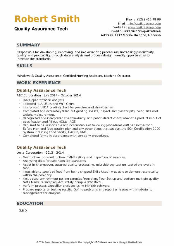 Quality Assurance Tech Resume example