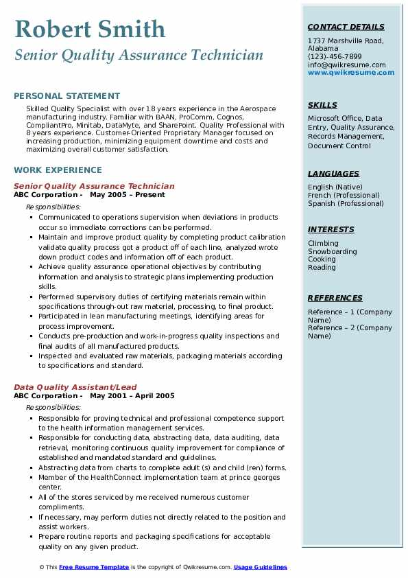 Quality Assurance Technician Resume Samples Qwikresume