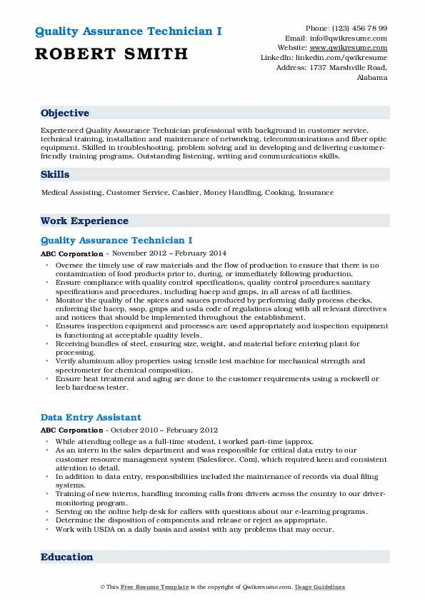 Quality Assurance Technician I Resume Format