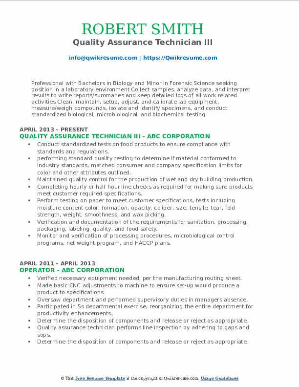 Quality Assurance Technician III Resume Format