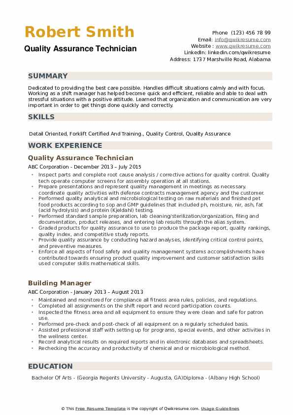 Quality Assurance Technician Resume example