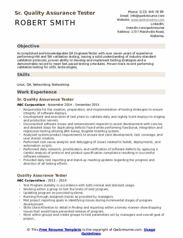 quality assurance tester resume samples