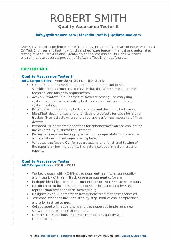 Quality Assurance Tester II Resume Template