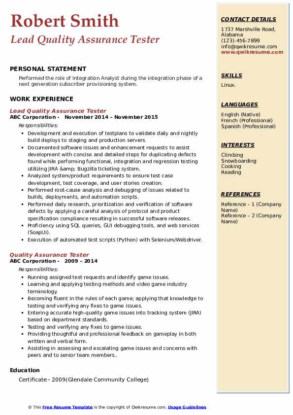 Lead Quality Assurance Tester Resume Sample