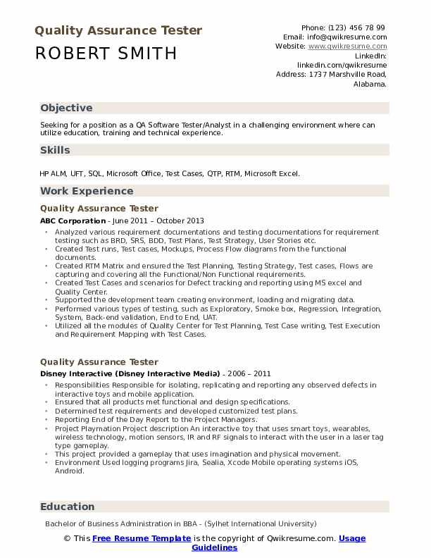 Quality Assurance Tester Resume example