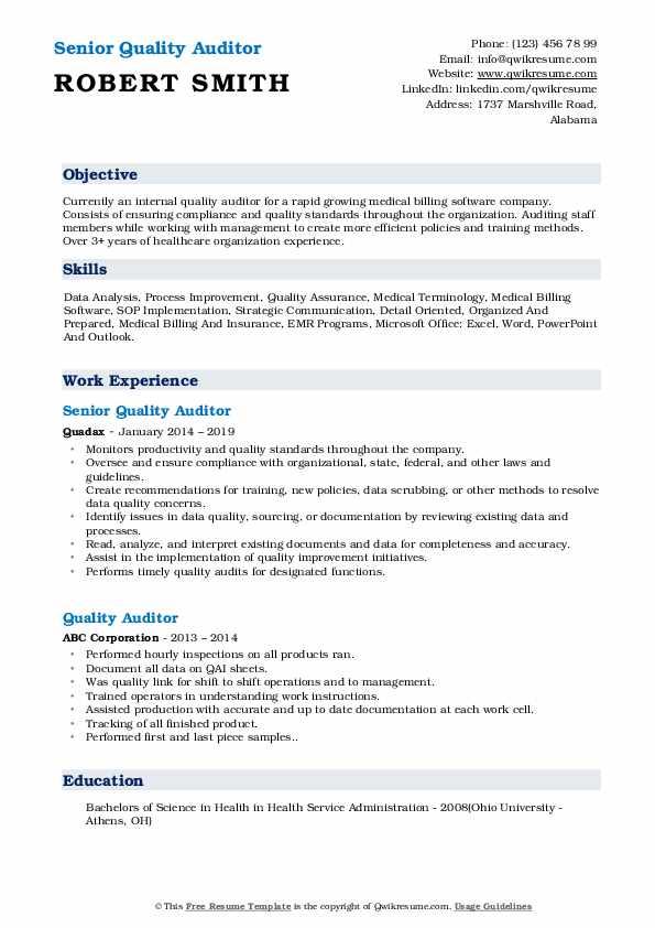 Senior Quality Auditor Resume Example