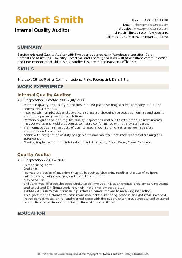 Quality Auditor Resume Samples | QwikResume