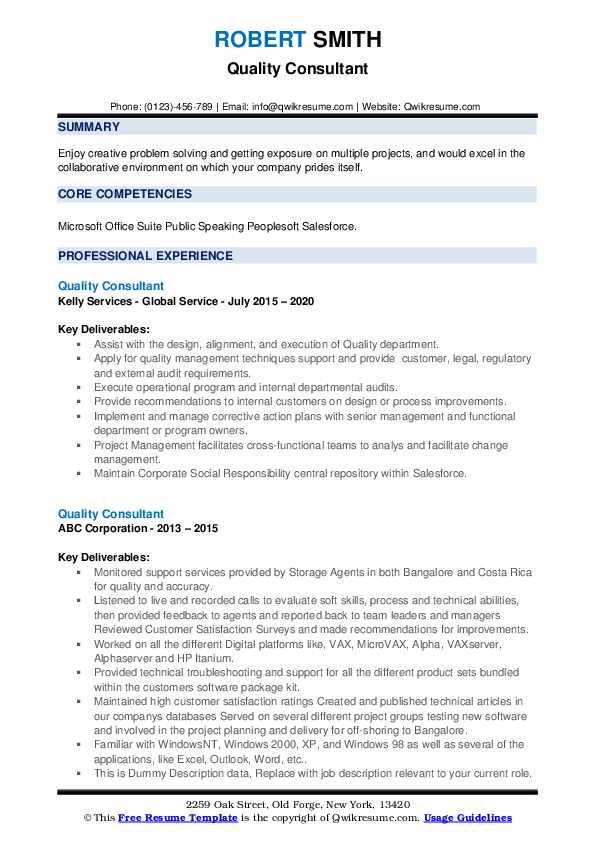 Quality Consultant Resume example